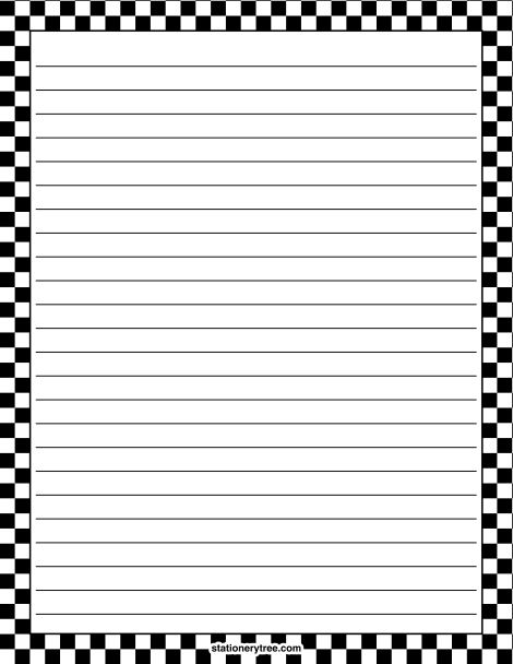 Printable black and white checkered stationery and writing paper ...