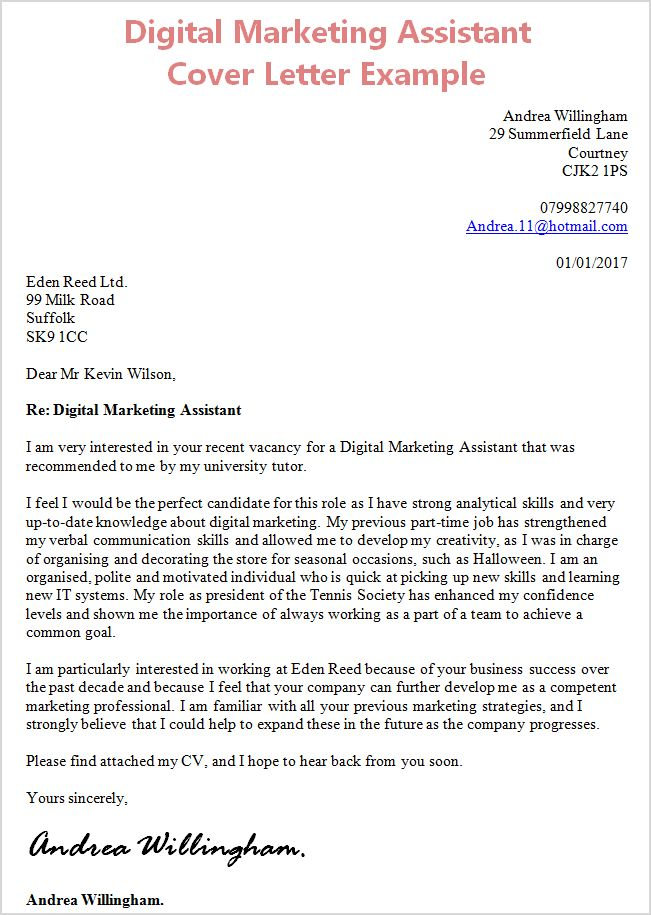 Digital Marketing Assistant Cover Letter Example - CV Plaza