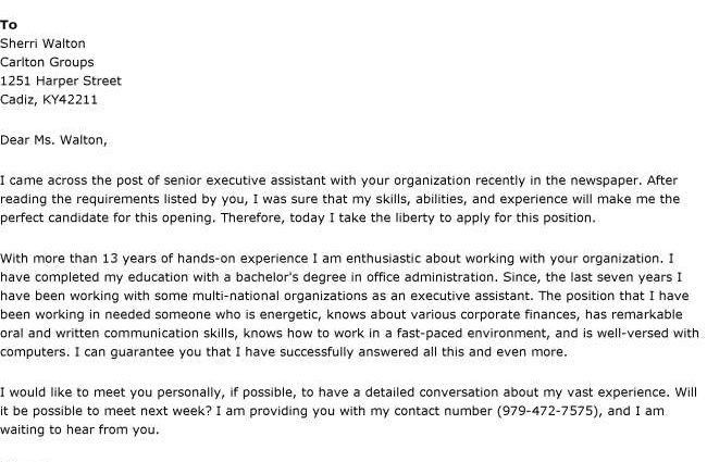 sample senior executive assistant cover letter - Writing Resume ...