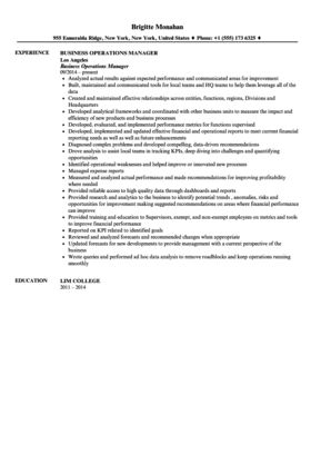 Business Operations Manager Resume Sample | Velvet Jobs