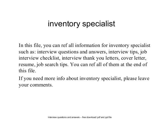 Inventory specialist