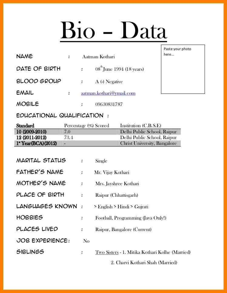 5+ how to make biodata for job | lease template