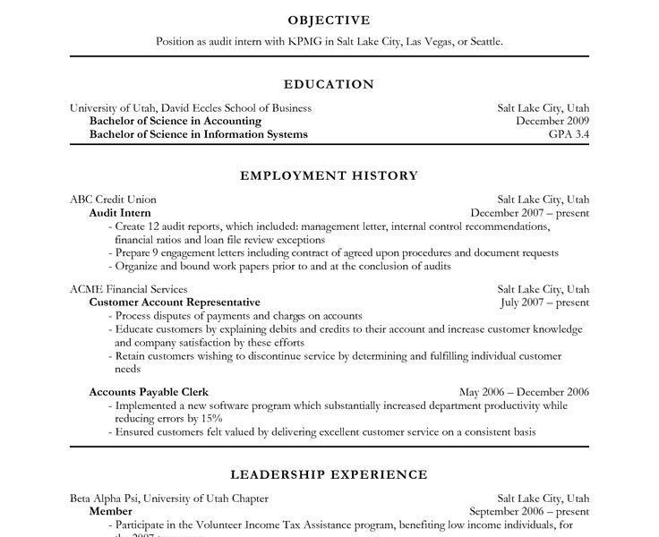 Awesome Ideas Accounting Resume Objective 13 Cover Letter ...