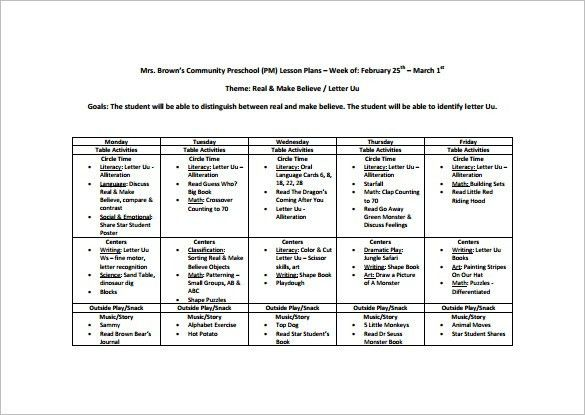 Preschool Lesson Plan Template – 11+ Free Sample, Example, Format ...