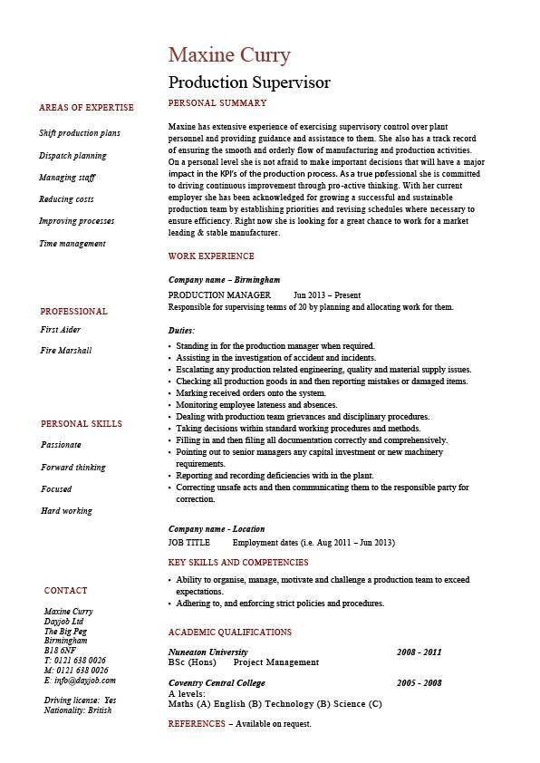 Fashionable Design Ideas Supervisor Resume 16 Production Resume ...