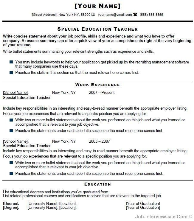 Special Education Teacher Resume Samples - Best Resume Collection