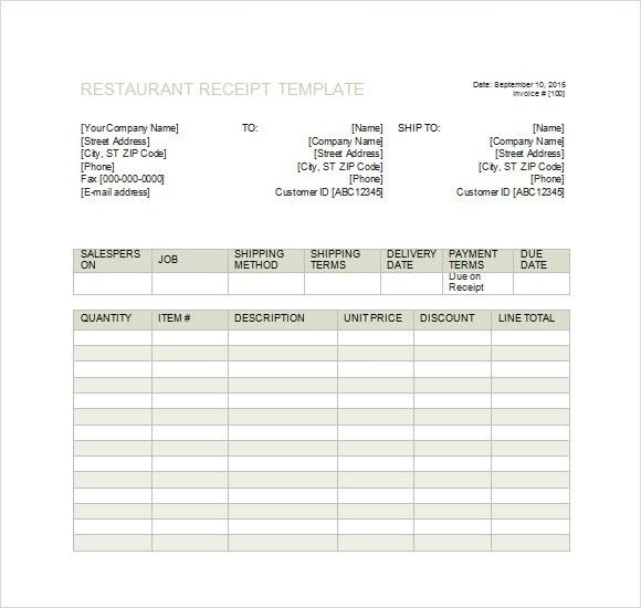 restaurant receipt templates