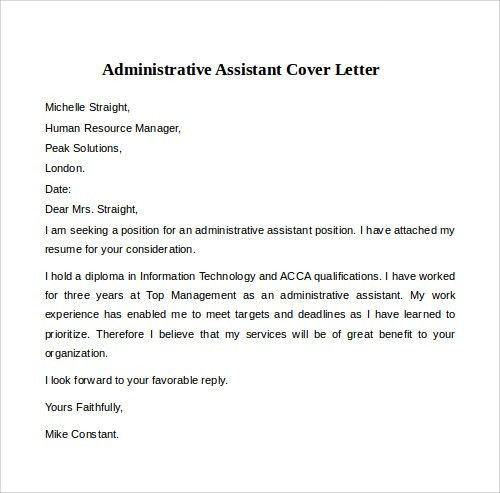 20+ [ Sample Administrative Assistant Cover Letter ...