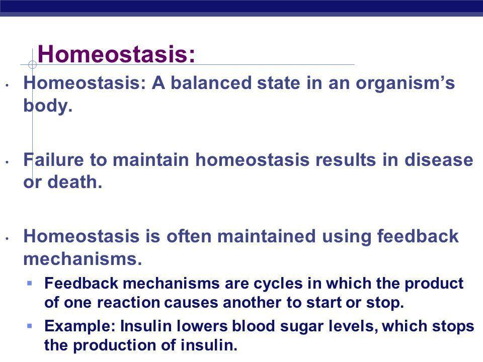 Chemistry of Living Things. Homeostasis: Homeostasis: A balanced ...