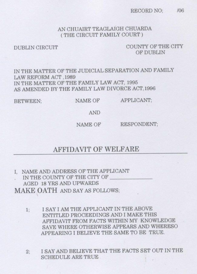 Nice Affidavit of Welfare Example with Name and Address of ...