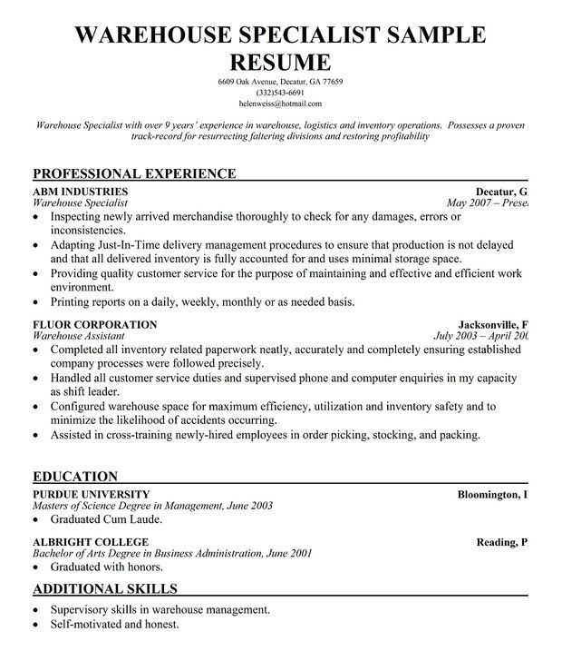 Warehouse Resume Objectives | Template Design
