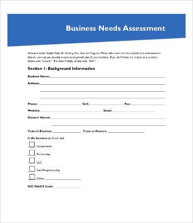 Sample Needs Assessment - 9+Free Word, PDF Documents Download ...