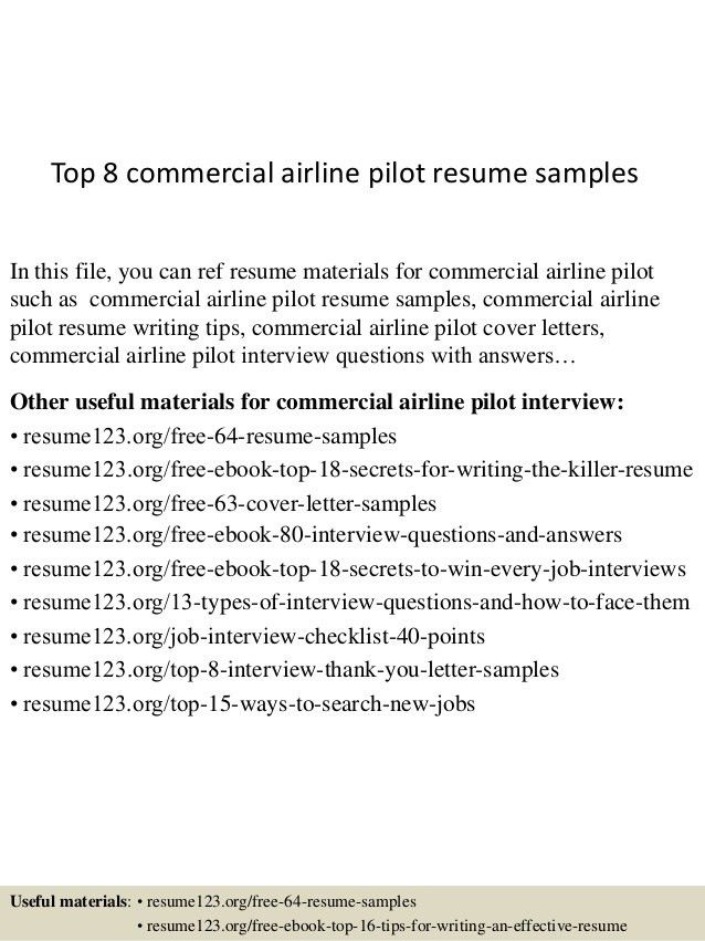 top 8 commercial airline pilot resume samples 1