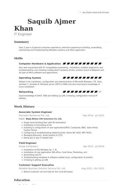 field engineer resume sample