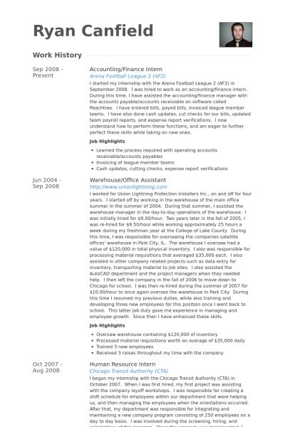 Finance Intern Resume samples - VisualCV resume samples database