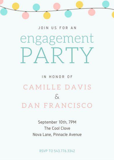 Colorful Pastel Lights Wedding Engagement Party Invitation ...