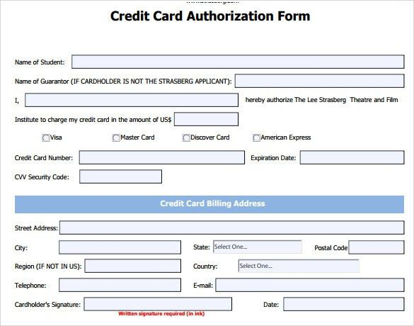 credit authorization form template