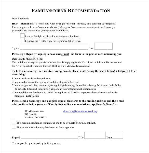 22+ Recommendation Letters for a Friend - Free Sample, Example ...