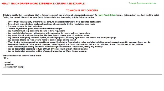 Heavy Truck Driver Work Experience Certificate