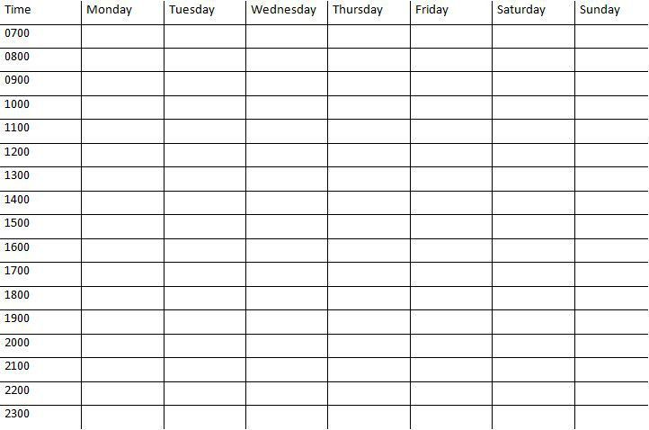 Weekly Calendar With Time Slots Template   weekly calendar template