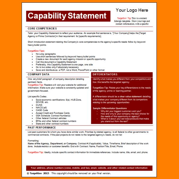 9+ capability statement template | Letter Template Word