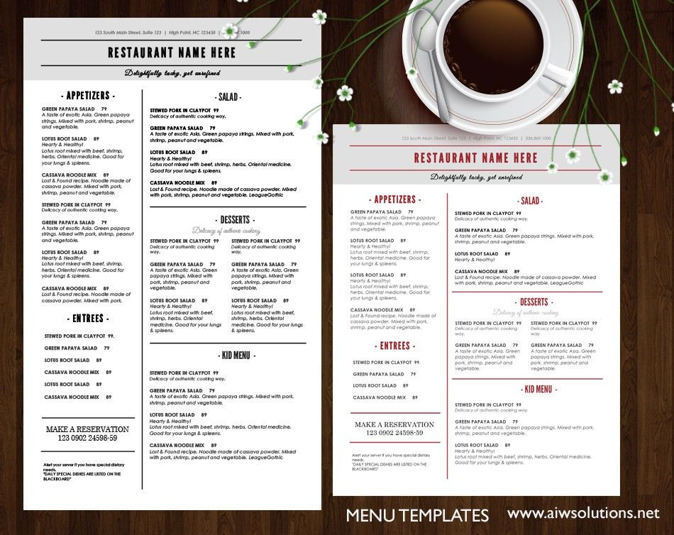 Restaurant Brochure Template. Indian Restaurant Menu Template ...