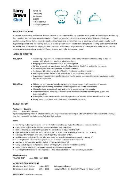 5 Chef Resume Examples | Sample Resumes