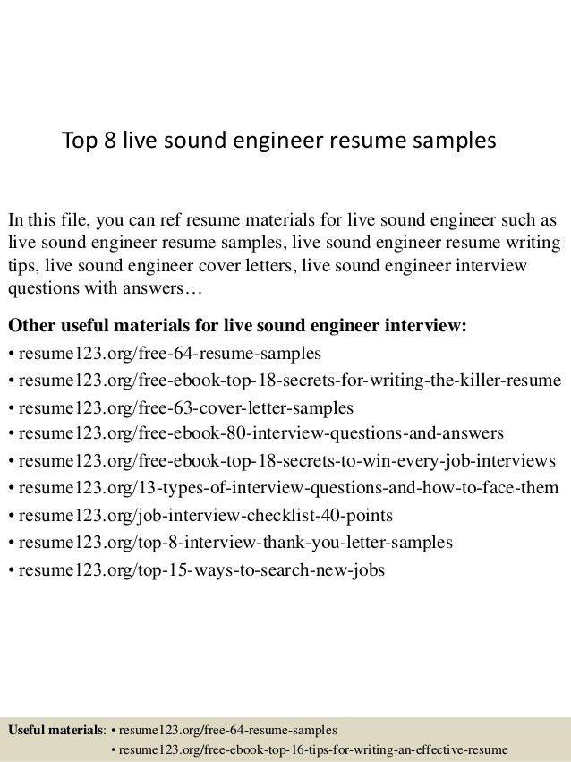 Download Recording Engineer Sample Resume | haadyaooverbayresort.com