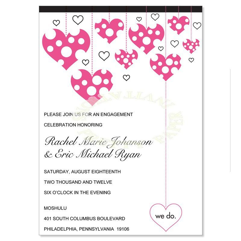 Pink & Black Engagement Party Invitation Templates - Veronica ...