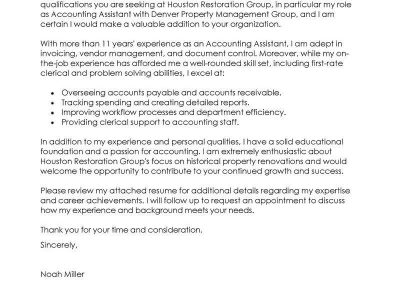 accounts assistant cover letters