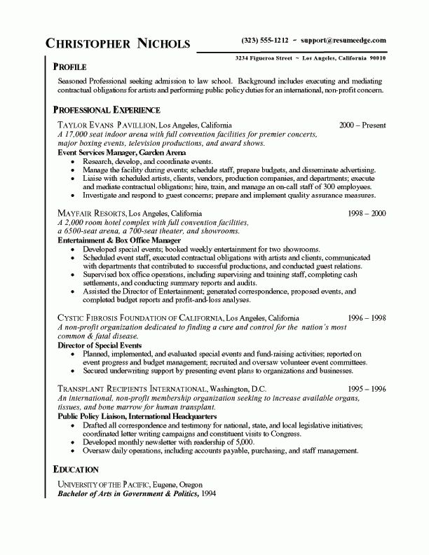 Law School Admissions Resume Example: Sample Legal Industry Resumes