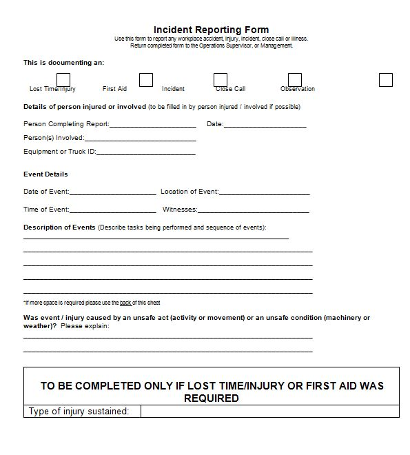 Incident Report Template | Free Sample Templates