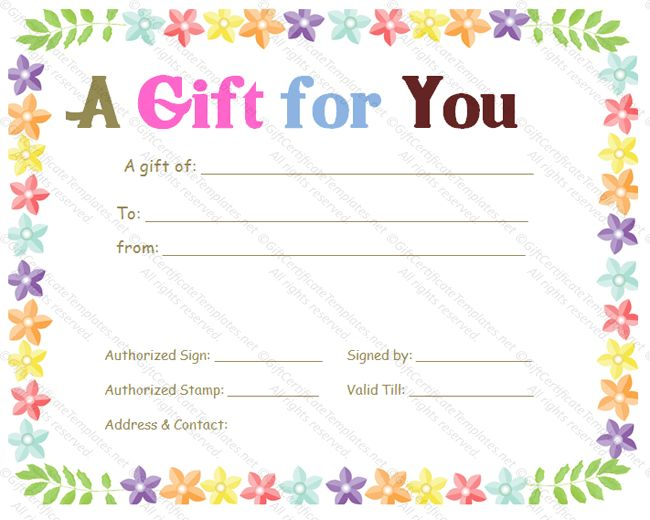 Celebration gift certificate template - Gift Templates