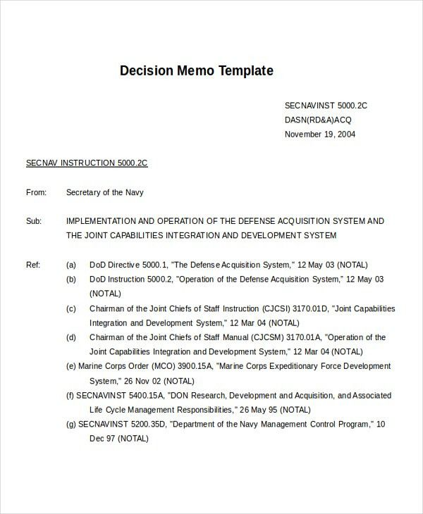 Decision Memo Template. 10+ Meeting Memo Templates – Free Sample ...