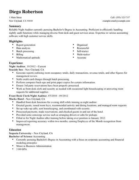 Best Night Auditor Resume Example | LiveCareer