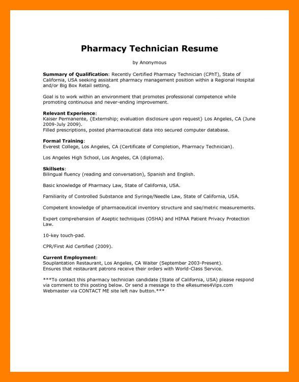 8+ entry level pharmacy technician resume | biodata samples