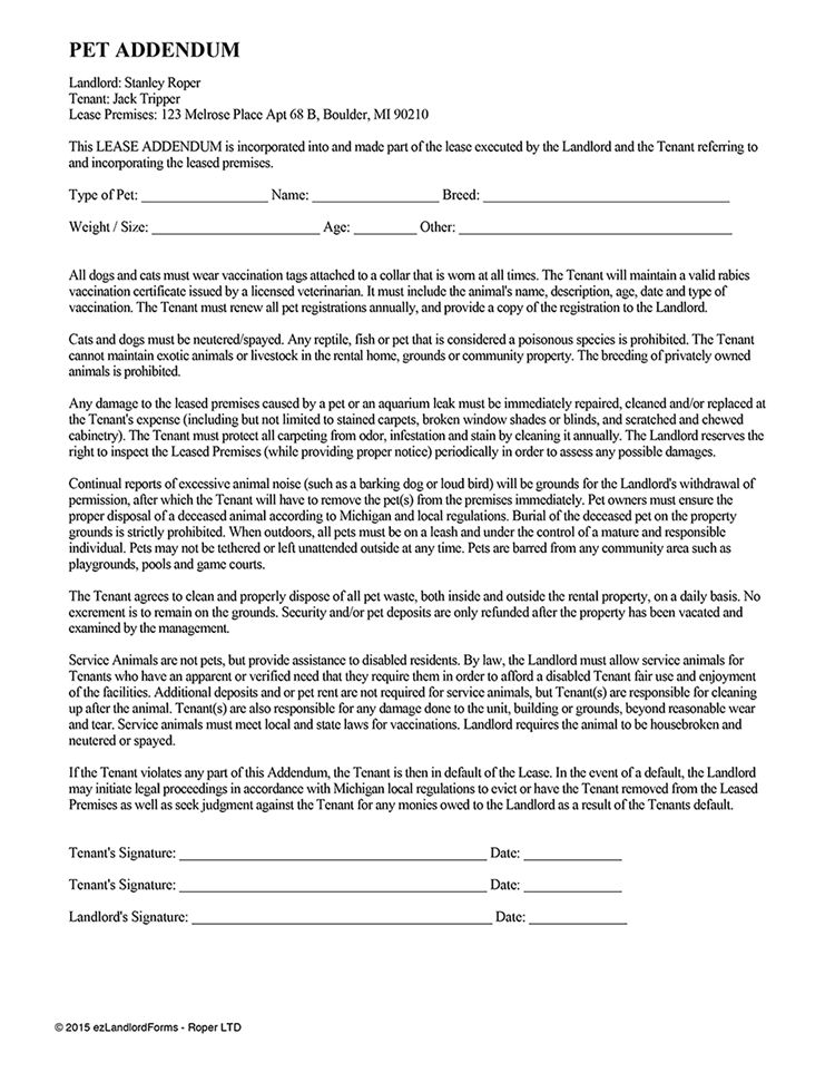 Pet Addendum | EZ Landlord Forms