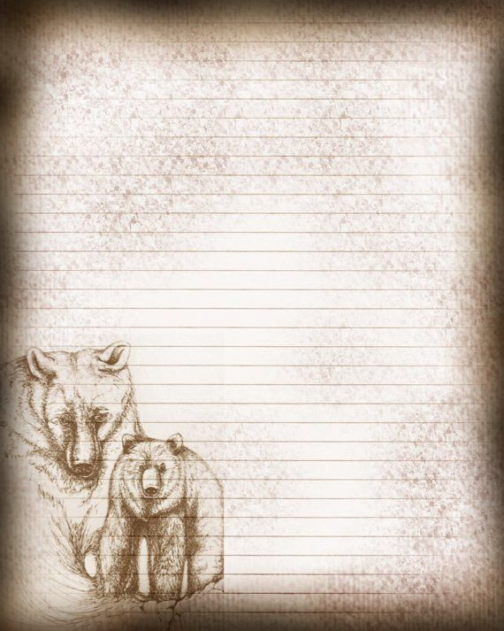 Printable Journal Page Bears Drawing Lined Stationery 8 x
