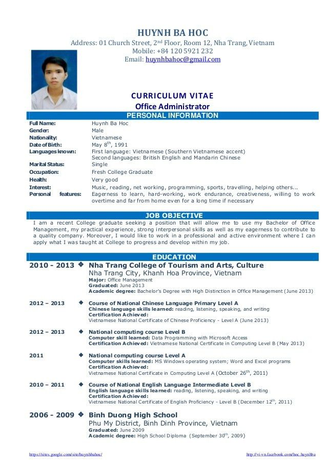 Cv resume sample for fresh graduate of office administration
