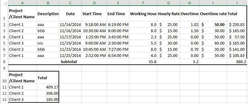 How to create billable hours template in Excel?