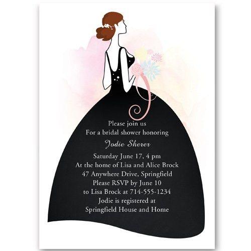Elegant printable wedding dress bridal shower invitations online ...