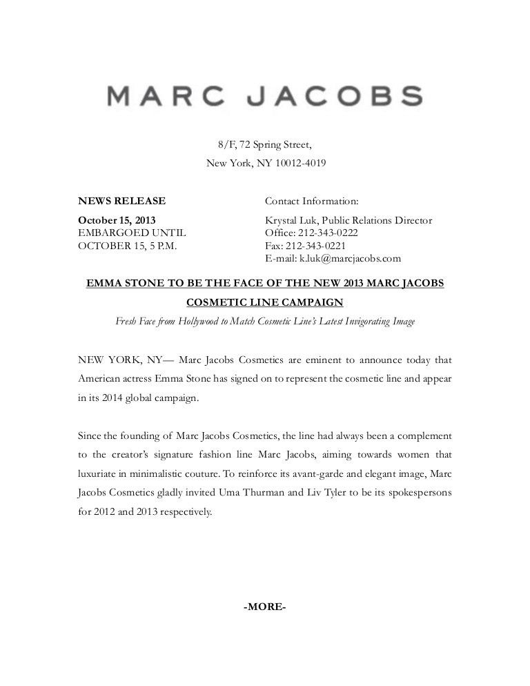 Marc Jacobs Press Release