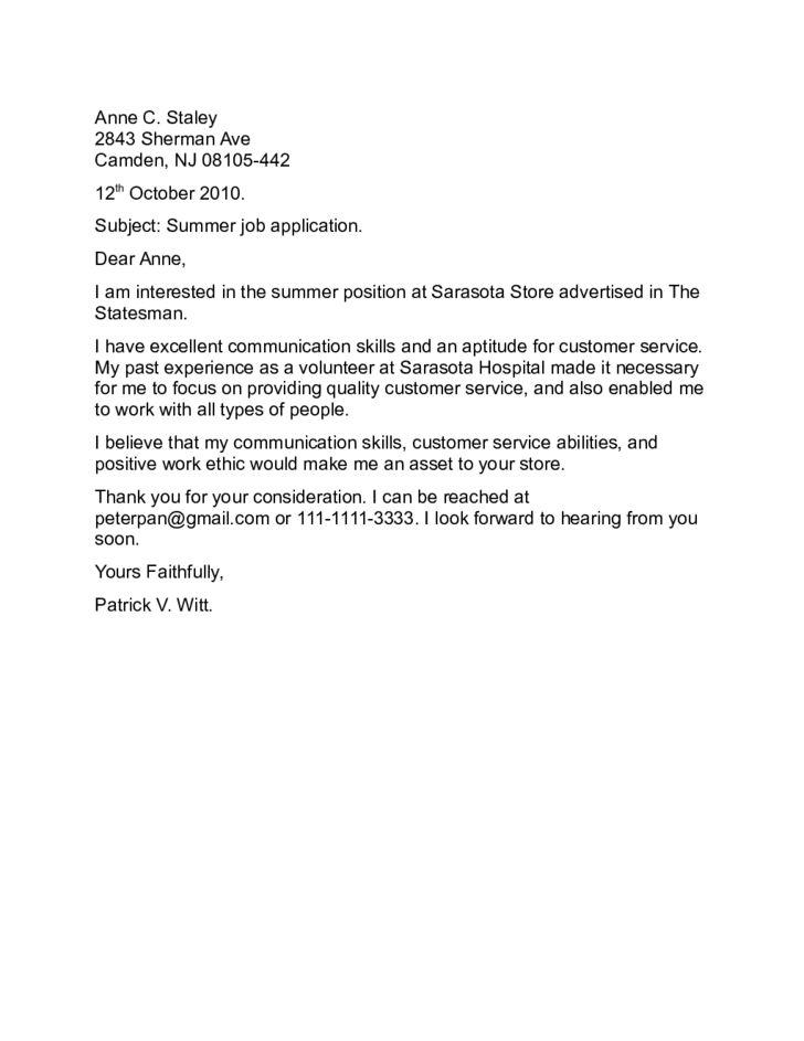 Summer Job Application Letter Sample Free Download
