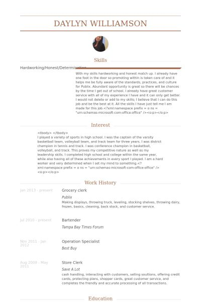 Grocery Resume samples - VisualCV resume samples database