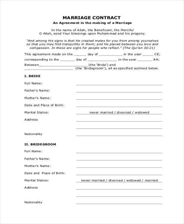 Contract Form Templates
