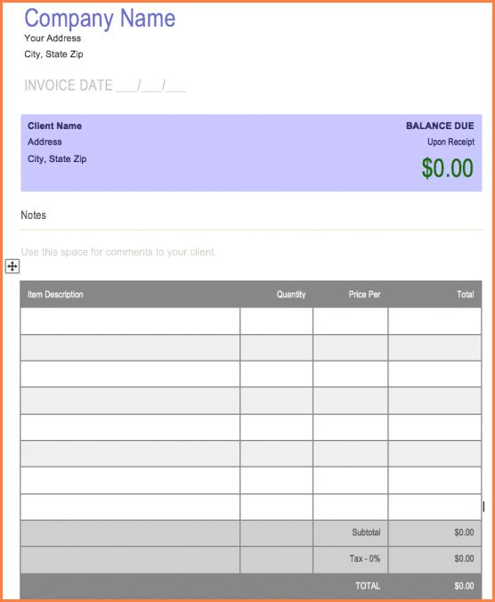 5+ blank invoice template for microsoft word   Invoice Term