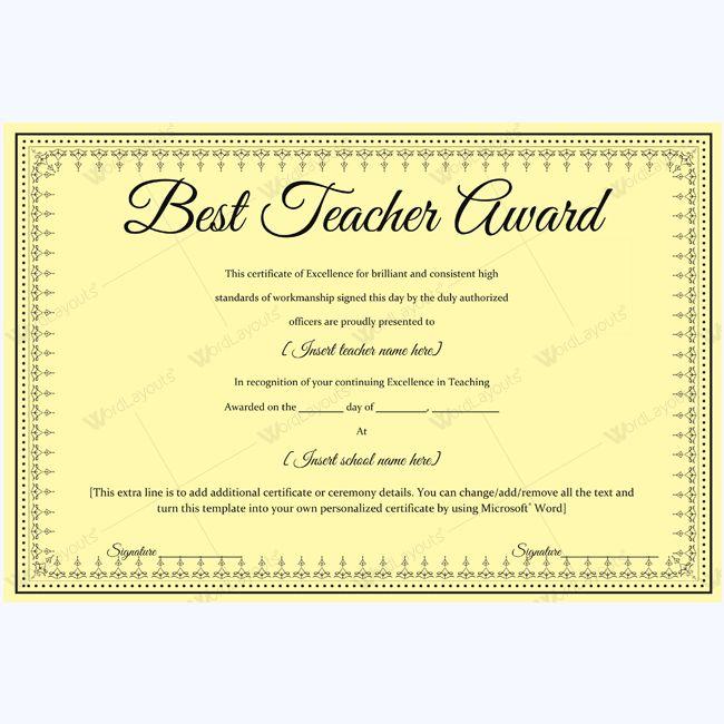 Best Teacher Award Certificate Template sample #award #bestteacher ...
