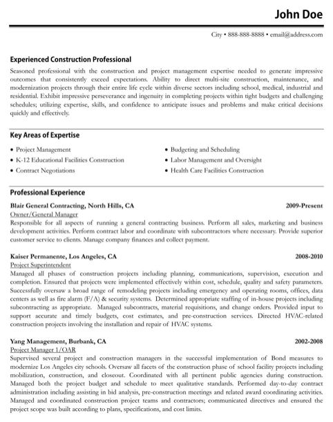 Construction Resume Templates
