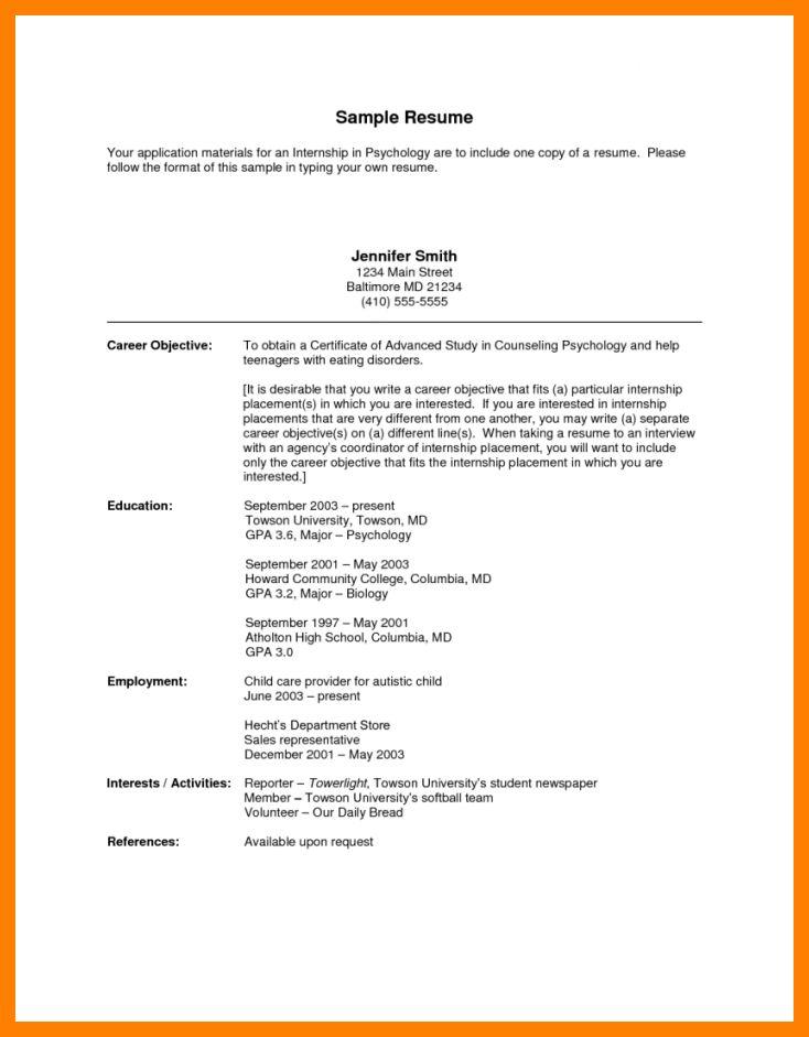 5+ objective for internship resume | packaging clerks