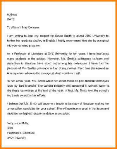 Sample Academic Recommendation Letter. View Original Letter ...